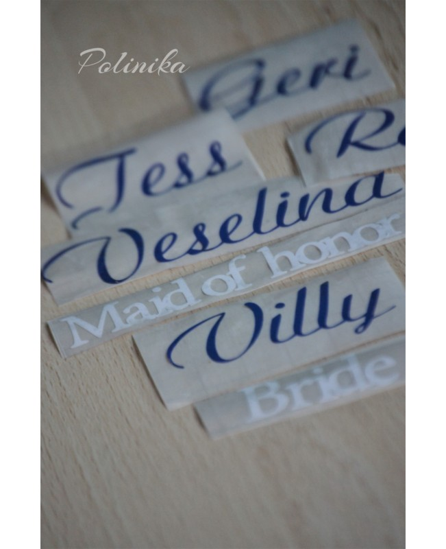 Stickers for bridesmaid glasses DIY5
