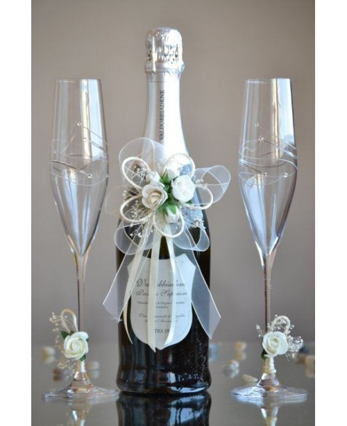 Set of glasses and Champagne bottle deco...