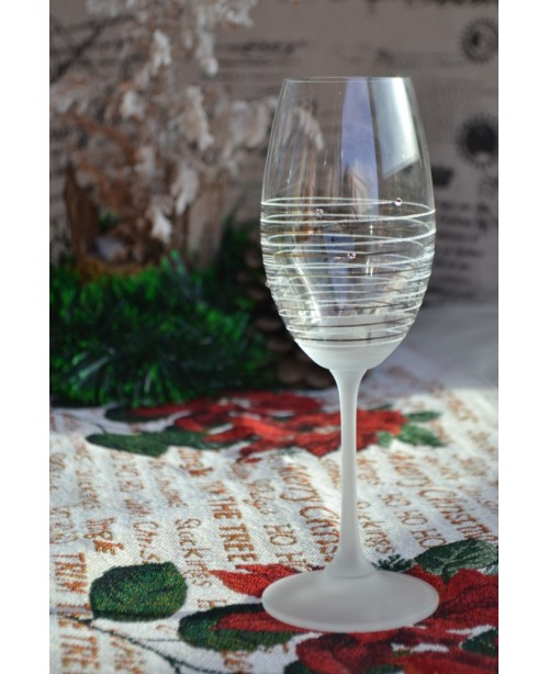 Hand decorated wine glass